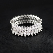 Unique Fashion Design lace Small Clear crystal rings Fina Jewelry Women's 925 Sterling Silver wedding rings XZ036
