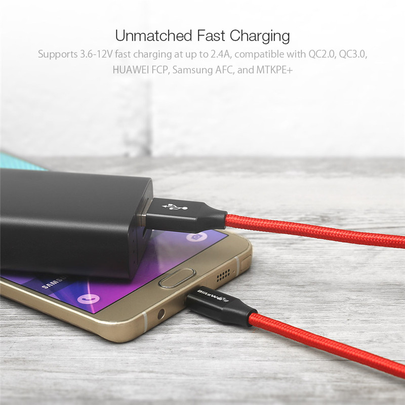 BlitzWolf Micro USB Cable Android Data Cable 2.4A Mobile Phone Cables Phone Charger Cable 1m 1.8m 2.5m For Samsung Smartphone