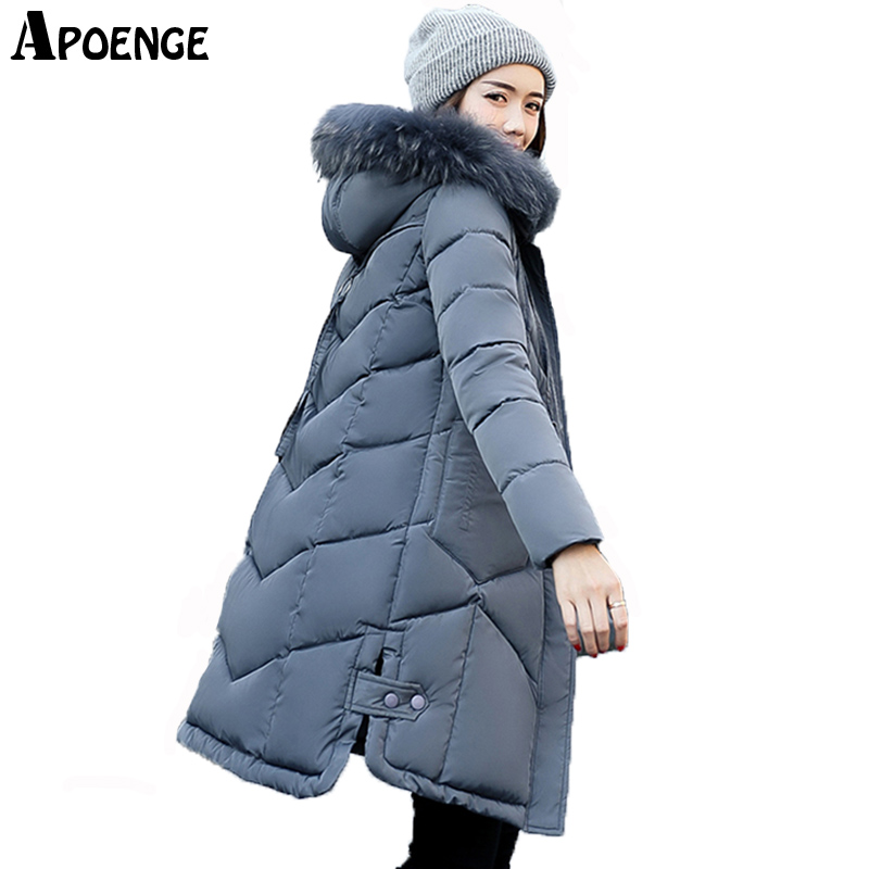 APOENGE veste hiver femme Woman Winter Coats 2017 Long Thick Hooded Jacket Fur Collar Side Split Padded Parka Plus Size QN610Îäåæäà è àêñåññóàðû<br><br>