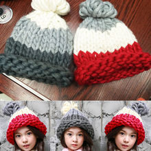 New Toddle Infant Winter Warm Beanies Kid Children Wool Knit Hat Pompom Ball Patchwork Cap Beanie Hats(China)