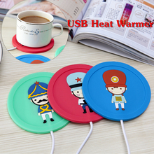 2017 hot sale Cartoon soldiers creative silicone coaster USB warm cup heating device Office Coffee Tea Warmer Pad Mat(China)