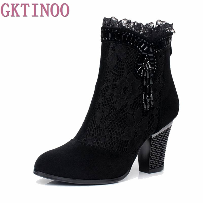 Genuine leather female spring and autumn boots high heels shoes net Ankle boots lace womens shoes<br>