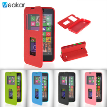 Double View Window Flip Leather 4.5for Nokia Lumia 630 Case For Microsoft Nokia Lumia 630 Phone Back Cover Case