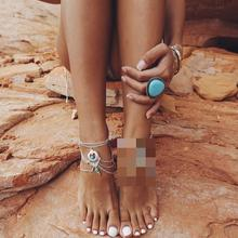 Foreign Trade Ornaments Retro National Wind Hollow Blue Stone Water Drops Beach Anklet Feet Decorated Female Body Jewelry Boho(China)