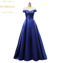 Real Sample Photo Off the Shoulder Short Sleeves Royal Blue Long Evening Party Dress Mikado Satin Cheap Prom Dress  Formal Gown