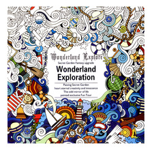 1 Pcs/24 Pages Wonderland Exploration Free Coloring Books For Children Adult Graffiti Anti-Stress Painting Drawing Color Books(China)