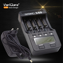 VariCore V40 LCD Charger+12V adapter+Car charger For 3.7V 18650 26650 18500 Lithium Batteries,1.2V AA AAA Ni-MH Battery(China)