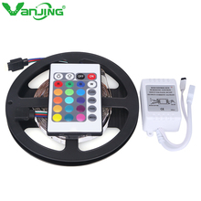 Nonwaterproof 3528 RGB LED Strip 5M 300LED SMD+ 24Key IR Remote Controller Changeable LED Strip Light Free Shipping