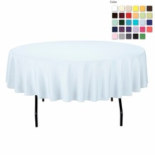 FEDEX IE 90in./230cm Diameter Round Polyester Baby Blue Tablecloth for Wedding Event Banquet Party, 20/Pack(China)