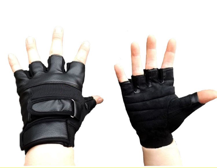 Genuine Leather Mens finger PU gloves fitness fighting semi finger gloves dumbbell equipment weight lifting exercise<br>