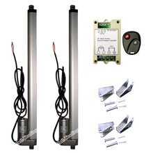 "A Pair of Heavy Duty 400mm/16"" Stroke 1000N 220lbs 14mm/s 12V DC Linear Actuators & Wireless Controller Kits & Mounting Brackets"