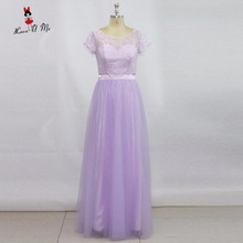 Summer Vintage Lavender Bridesmaid Dresses Long Lace Wedding Party Dress with Short Sleeve Tulle Sash Women Prom Vestido Gala