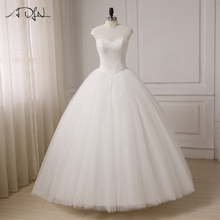 ADLN New Luxury Crystals Wedding Dresses High Collar Ball Gown Bridal Gowns Vestido De Noiva Floor Length Back Lace Up