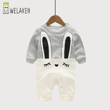 weLaken Infant Cartoon Rabbit Pattern Baby Romper Climbing Clothes Baby Girls Boys Clothing Comfortable Cotton Baby Clothes