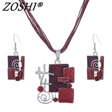 ZOSHI Fashion Jewelry Set Multilayer Leather Chain Pendant Necklaces Drop Earrings Jewelry Sets Women Wholesale Necklace Set