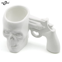 Navigate Pistol Grip Coffee Cups and Mugs Funny Gun Mug Milk Tea Cup Creative Office Ceramic Coffee Skull Pistol Mug Drinkware(China)