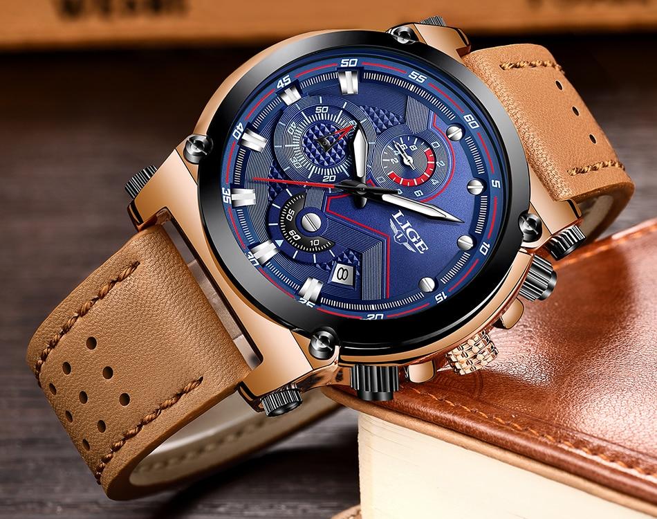 Reloje 18 LIGE Men Watch Male Leather Automatic date Quartz Watches Mens Luxury Brand Waterproof Sport Clock Relogio Masculino 13