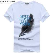 Givanildo 5XL Men T-Shirt Short Sleeve Feather Respect Attack Casual Cotton Homme Clothing 4XL T Shirt  Hiphop BY037
