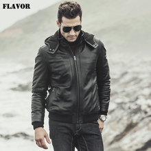 FLAVOR 2017 New winter Men's Real sheepskin Leather Jacket Hooded Motorcycle coat Lambskin Genuine Leather Jacket(China)