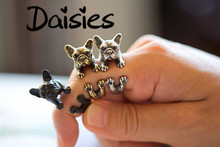 Daisies ONE PIECE Hot Sale Animal Handmade Anillos French bulldog ring  Ring cute golden silver black Fashion for women men 2015