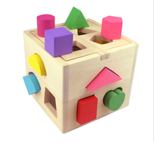 New Arrive Eco-friendly 1 Piece Educational Wood Baby Toys Children Multifunction Early Learning Wooden Cube Color Learn