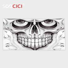 Custom Microfiber Ultra Soft Bath/hand Towel,Day Of The Dead Decor Scary Skull Face Angry Expression Festive Art Image Black(China)