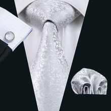 Men`s Tie Silver Novelty Jacquard Woven 100% Silk Brand Tie Hanky Cufflinks Set For Wedding Business Party Free Postage LS-1126(China)
