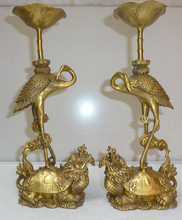 Chinese Brass Dragon Turtle Tortoise Crane Candlestick Holder Ruyi a Pair(China)
