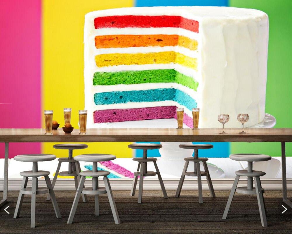 Papel de parede Cakes Multicolor Food photo Torte wallpaper,living room TV sofa wall bedroom kitchen restaurant bar 3d mural<br>