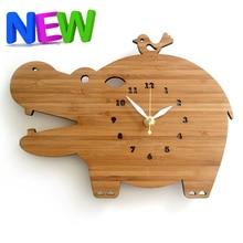 natural log color hippo bamboo u0026 wood wall clock bedroommute modern design rural creative personality