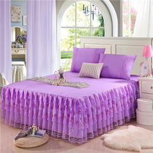 Peony pattern bud silk bed skirt 3pcs bed sheet bedspreads twin full queen king size purple pink yellow supply