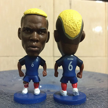 Soccerwe 2016 Euro Cup Runner Up 6.5cm Height Size Resin Soccer Figure France 6 Paul Pogba Doll in Blue