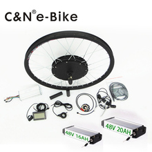 "26"" front wheel lcd display 48v 1000w electric bike conversion kit with 48v 16ah lithium battery for mountain bike"