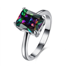Hot Sale Fashion Square Crystal Colorful CZ Diamond Jewelry Silver Plated Rings For Women Wedding Party Bague Bijoux Aros Gift