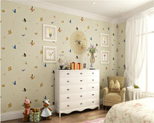 beibehang 2017 fashion personality senior papel de parede wallpaper decoration room butterfly living room full floor background(China)