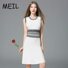 MEIL2017 Europe brand women fall color slim slim neck sleeveless A-line dress