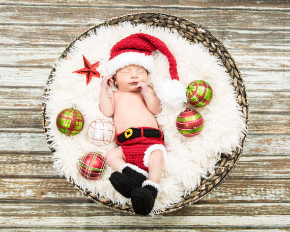 2015 Soft New Cute Newborn Baby Costume Photography Prop Santa Claus Hat Suit Infant Girl and Boy Knit Crochet Fashion<br><br>Aliexpress