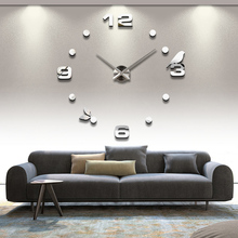 2016 free shipping new real metal 3d diy acrylic mirror wall clock watch clocks home decoration modern needle quartz stickers(China)