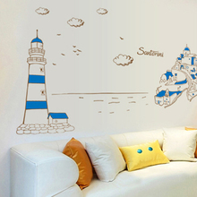 Small fres Mediterranean Style blue Lighthouse castle wall stickers Fashion wallpaper for bedroom creative decor for living room