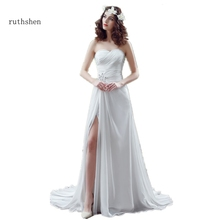 ruthshen Sexy Bohemian Wedding Dresses Cheap Pleats Chiffon Side Leg Slit Vestidos Baratos White Ivory Vestido Novia 2017(China)