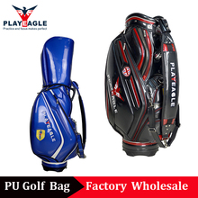 PLAYEAGLE 2018 New Waterproof PU Crystal Leather Golf Bag 3D OEM Logo Black/Blue Standard Golf Course Bag for Golfers(China)