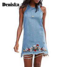 DENISKA Women Sweet Floral Embroidery Denim Dress Hem Fringe Summer Sleeveless Casual Mini Shift Dresses Vestidos de festa