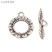 6 Sets Tibetan Antique Silver Flower Leaf Hole Toggle Clasps Jewelry Findings For DIY Making