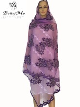 New Arrive 2016 Purple Net Scraf Big Embroidery Big Scarf Soft material tulle material New multifunctional scarf ,shawls wraps(China)