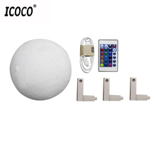 ICOCO 16 Colors Remote Control 3D Print Moon Lamp Bedside Decor Gift Changeable Night Lights For Christmas New Year12/15/18/20cm(China)