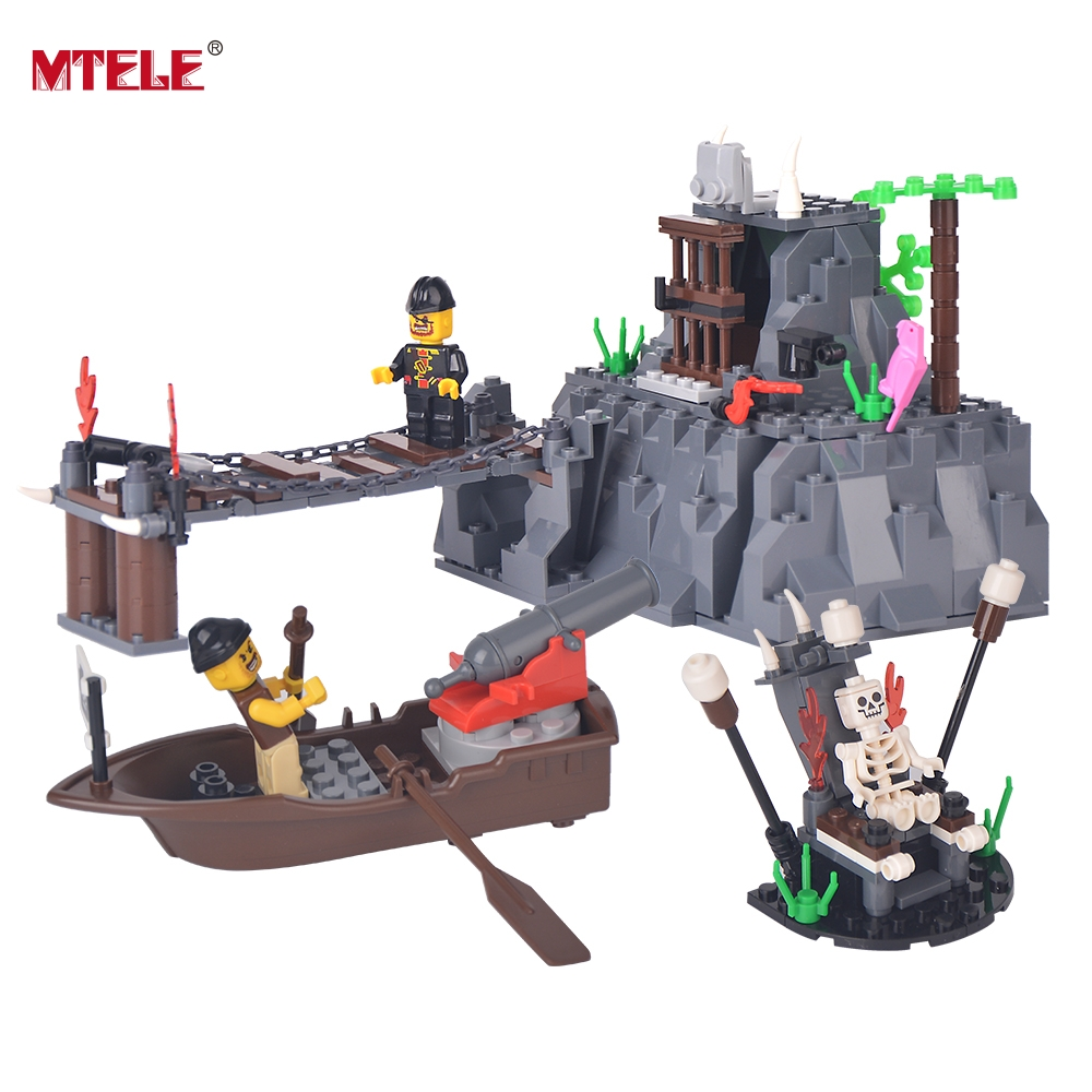 MTELE Brand Taboo Island Model Toy Pirate Series 248 Piece Skull Captain Pirate Figures Bricks Toy Compatible with lego<br>