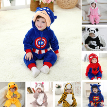 Baby Romper Captain America Infant Jumpsuit Halloween Costumes Fleece Newborn Girls Boys Ropa Bebe Clothes Winter Cheap