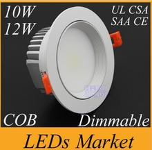 White shell 10w 12w Dimmable COB LED Downlight 90-260V 12v 1050lm Led Fixture Recessed Cabinet Down Lights