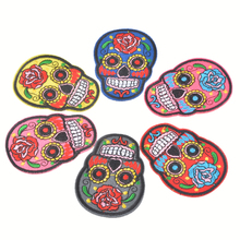 FUNIQUE Mixed 6PCs Iron On Patches For Clothing Jacket Bag Stripes For Clothes Embroidered Skull Sewing Flower Applique(China)