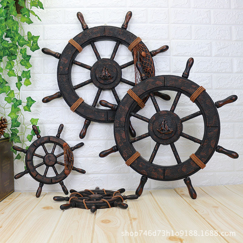 "Nautical Decoration Rudder Wall Hanging Wood Collectible Boat Ship Wheel 18/"""